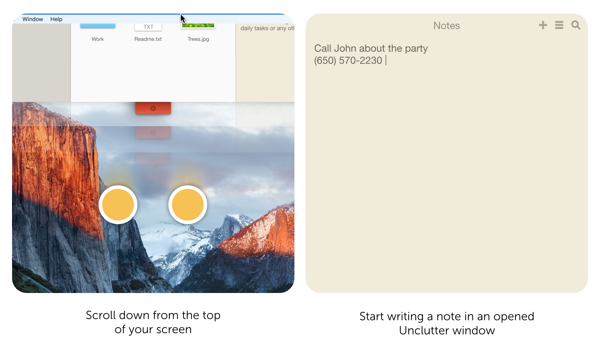 Here is the best way to take a note on Mac. Open Unclutter and start writing instantly.