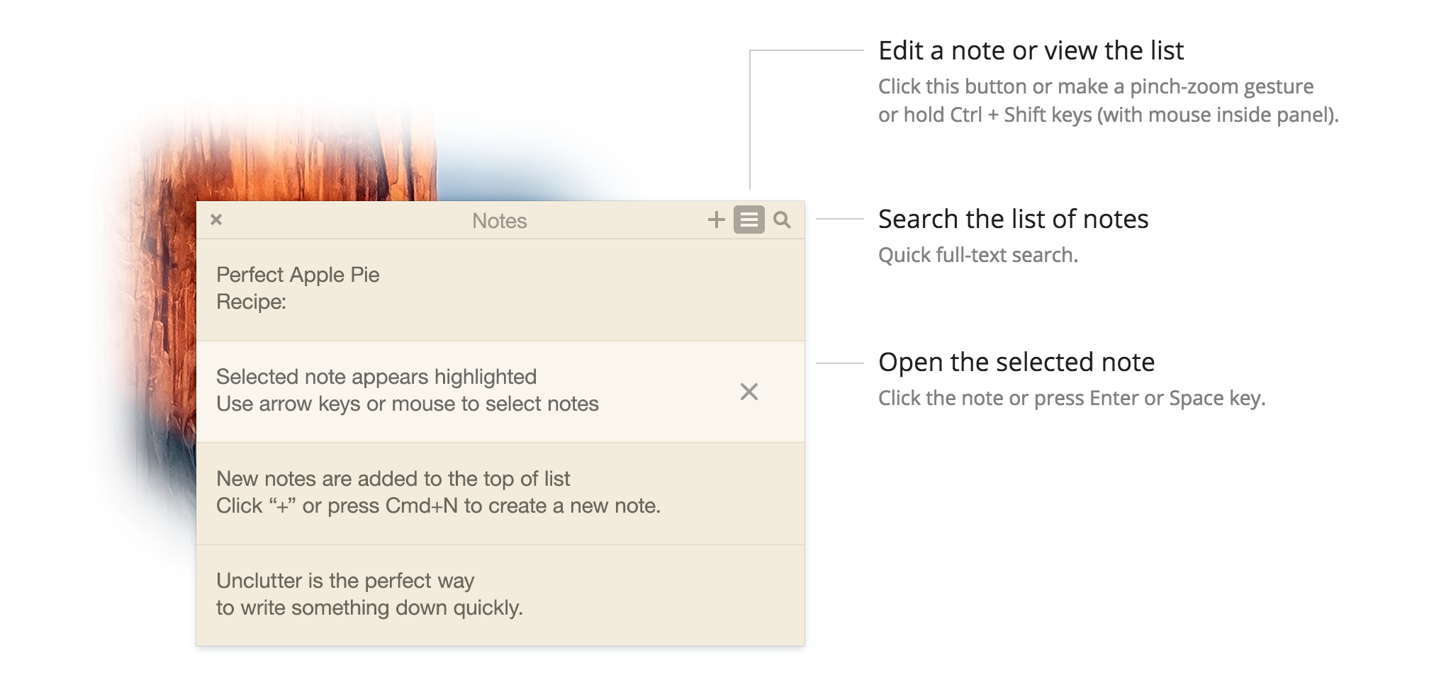 Best quick notes app for Mac. Add note, full-text search, auto-sync.