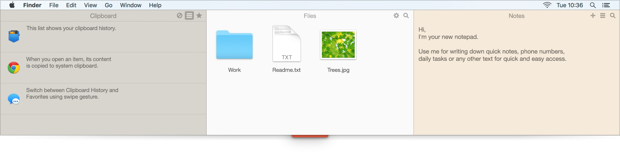 Unclutter. Clipboard and History, Files storage and Drop Zone, Notes in Notepad (Mac)