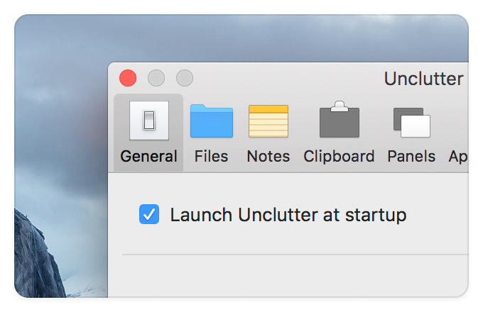 Unclutter - Launch at startup (Unclutter Preferences)