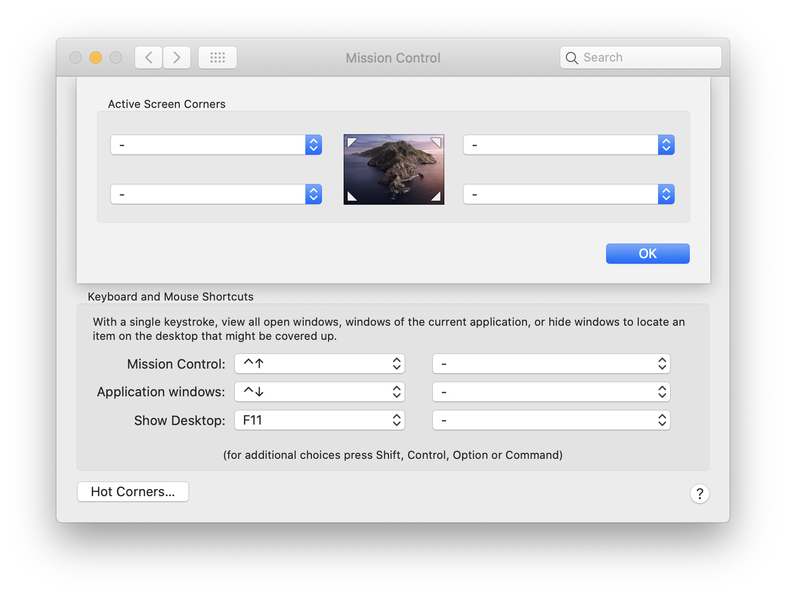 System Preferences - Mission Control - Hot Corners