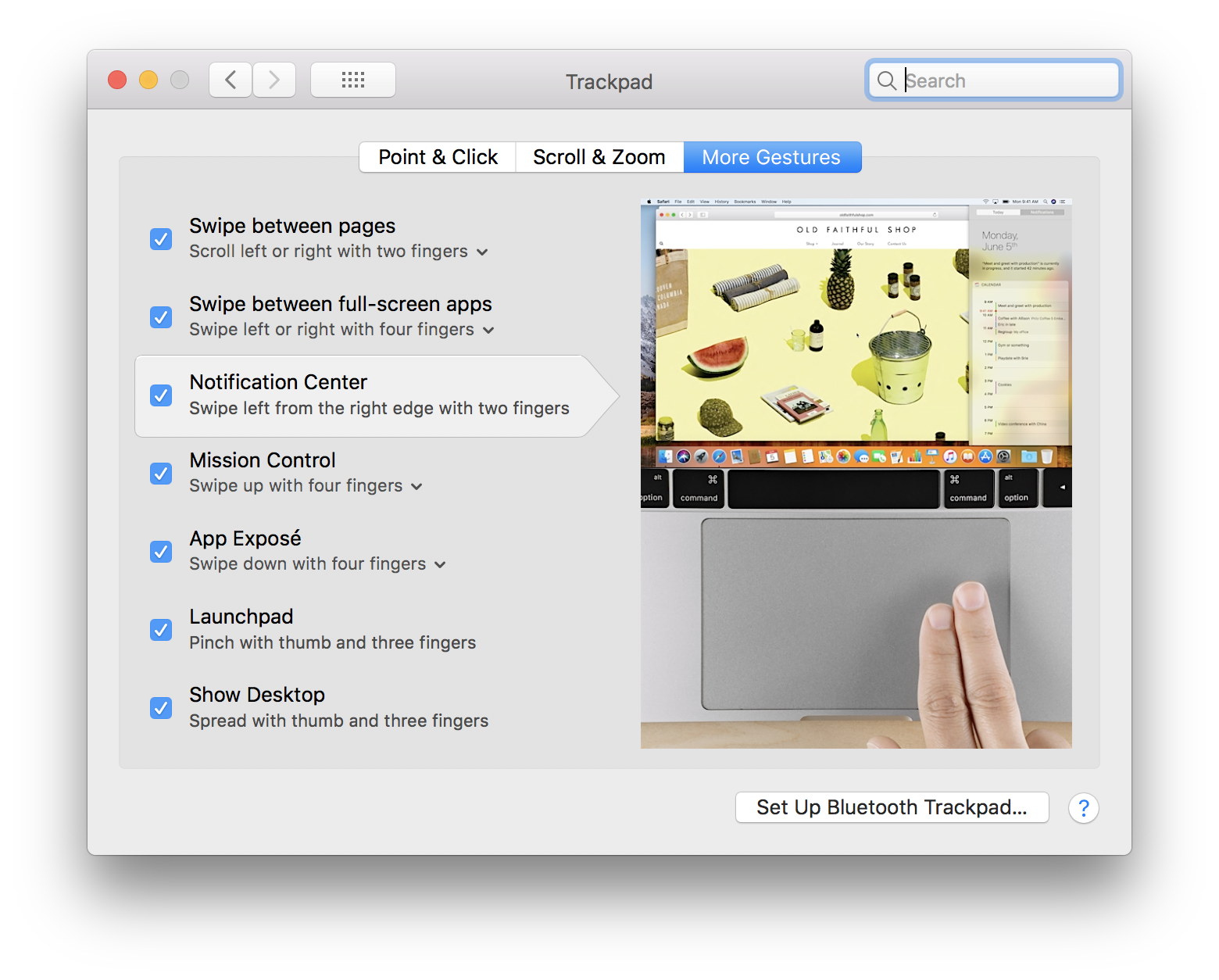 System Preferences - Trackpad - More Gestures