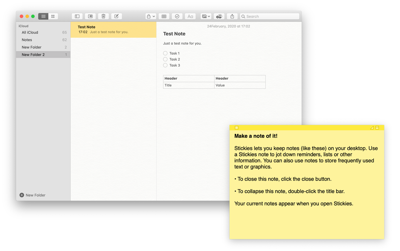 Apple Notes and Stickies