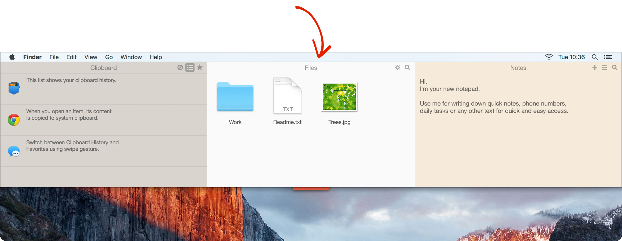 Unclutter Files - a new place to drop casual files to, without cluttering your Desktop.