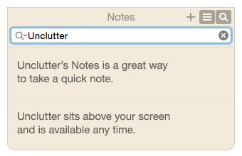 Unclutter Notes search